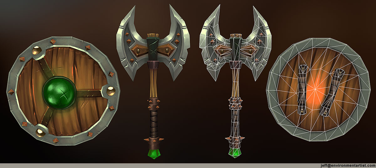 Shield and Axe Weapons